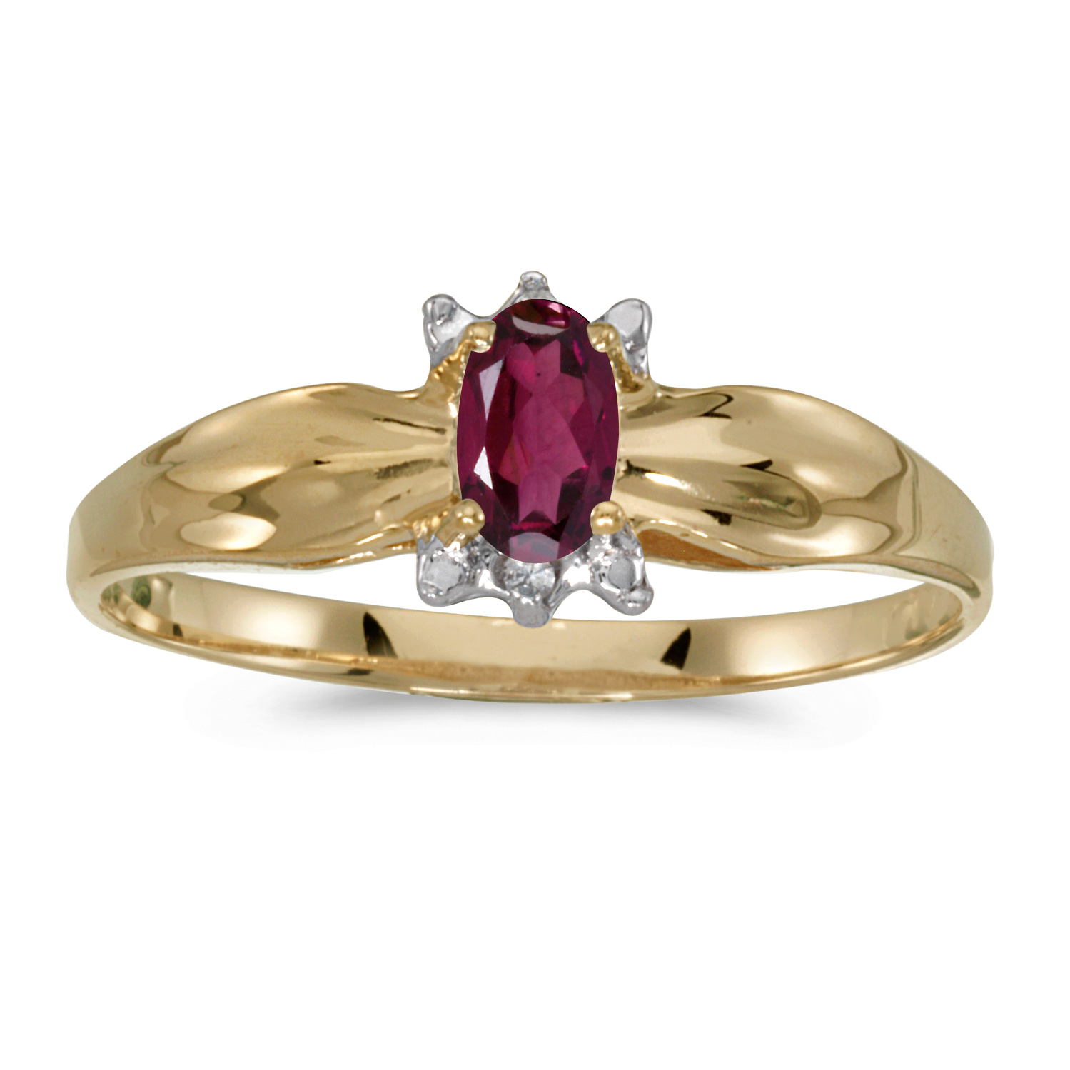 10k Yellow Gold Oval Rhodolite Garnet And Diamond Ring by