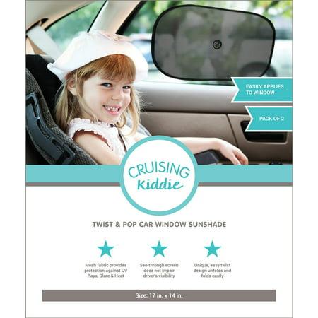 Kiddie Cupcakes - Cruising Kiddie Twist and Pop Car Window Sun Shade - 2 Count