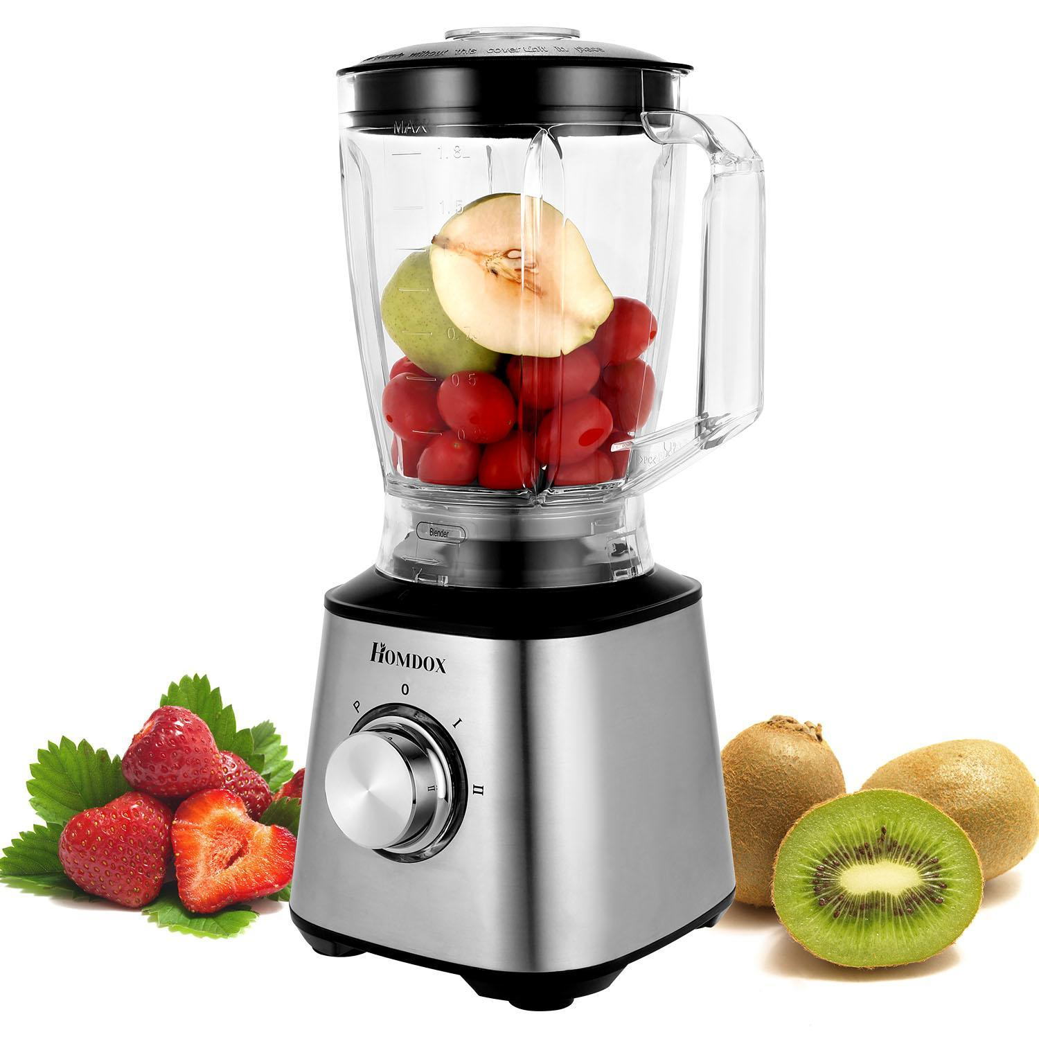 Blender 800W Professional High Speed Blender home Commercial Smoothie Mixer Heavy Duty Food Processor for Ice, Soup, Mincemeat, Nut butter with 1.8L Plastic  Jar, Black