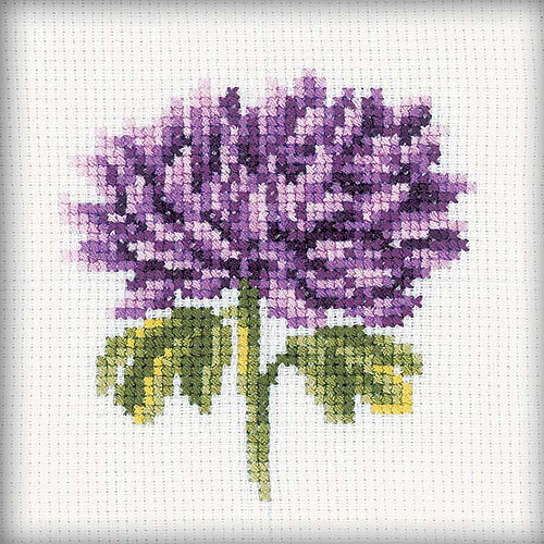 "Chrysanthemums Counted Cross-Stitch Kit, 4"" x 4"", 14-Count"