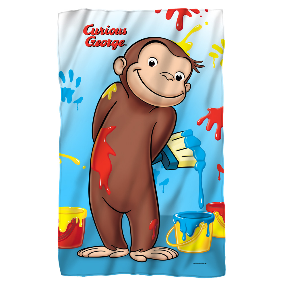 Curious George Paint Fleece Throw Blanket White One Size