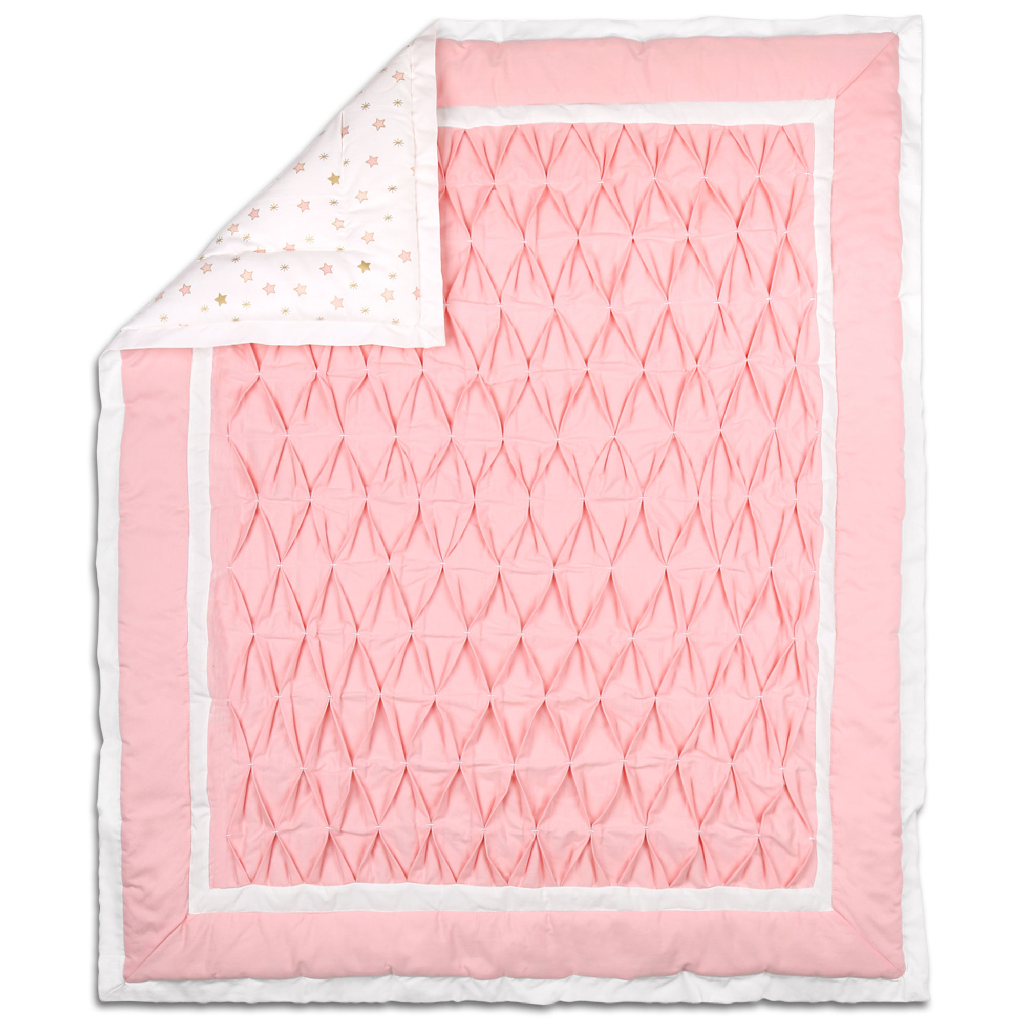 Coral Pink Pleats and Gold Stars Baby Crib Coverlet by The Peanut Shell