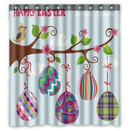 YKCG Easter Eggs Hang On Branches Birds Tree Branch Shower Curtain Waterproof Fabric Bathroom