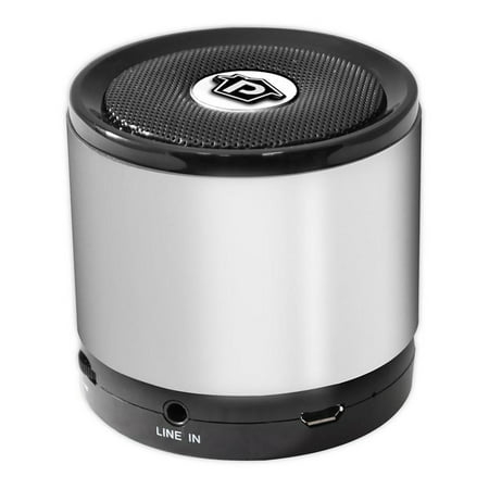 Pyle BT Mini Speaker with Hands-Free Call Answering and Music Streaming, AUX-In, 8 Hour Playback - Silver