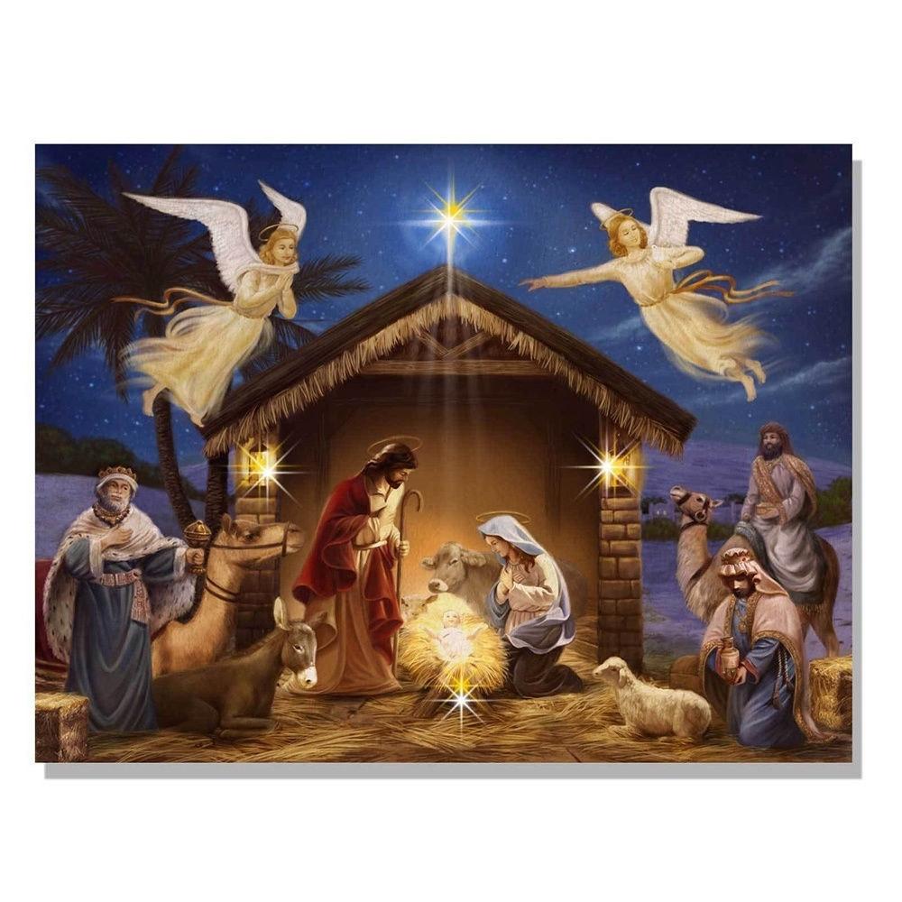 Trendy Decor 4U Holiday Nativity Scene LED Light Canvas Art