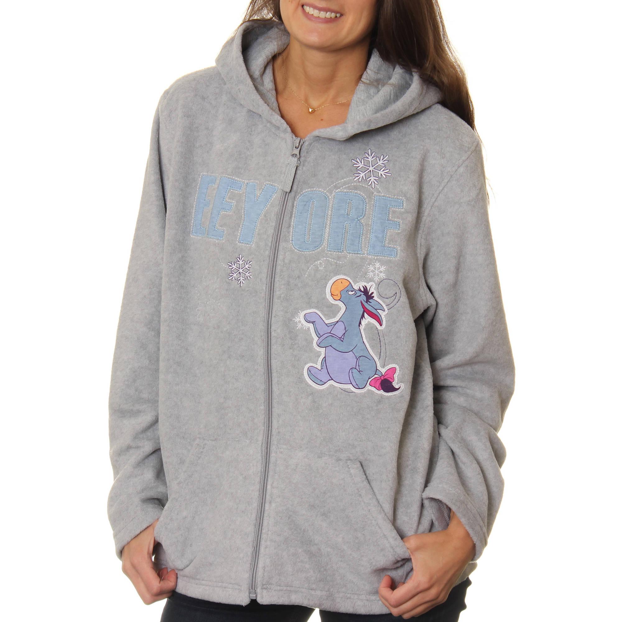 Disney Women's Eeyore Plush Fleece Full Zip Hoodie