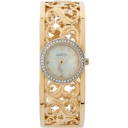 Women's Gold-Tone White Mother of Pearl Dial Czech Crystal Accented Vine-Shape Pattern Bangle Watch