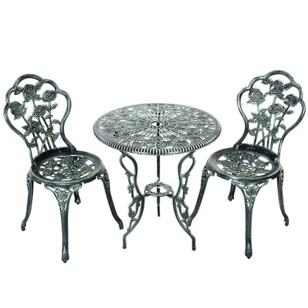 Omni 3-piece Cast Aluminum Bistro Set - Rose Flower Pattern w Antique Green (Columbia Omni Tech Light)