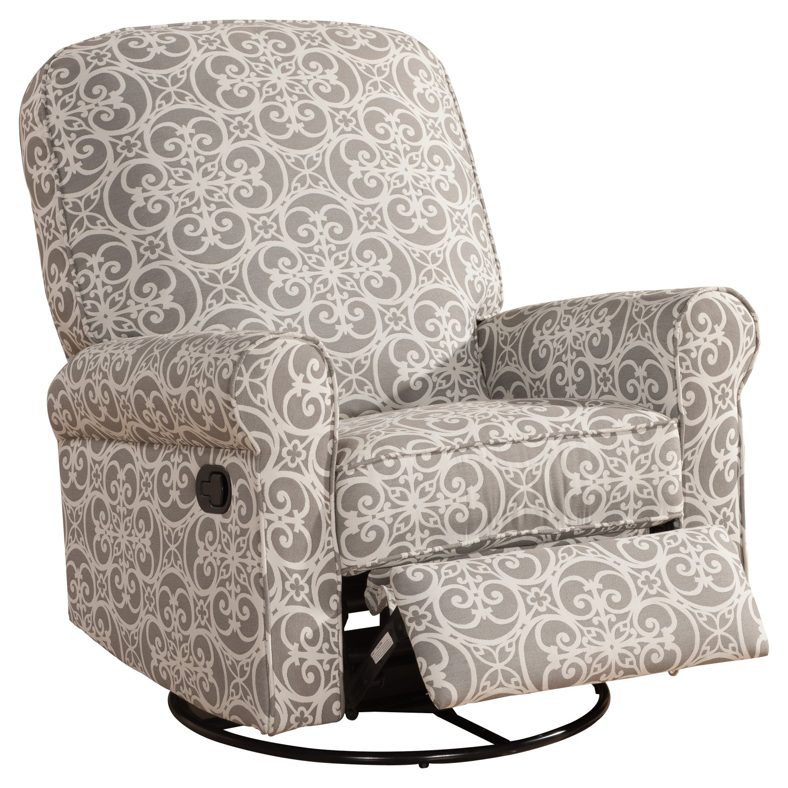Home Meridian International Ashewick Swivel Glider Recliner Doodles Ash, Gray by Pulaski