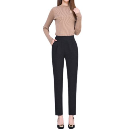 Lavaport Women Office Lady Casual Loose Harem Harlan Work Pants High Waist ()