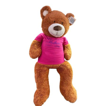 Big Plush for Mom, Soft 5 Foot Giant Teddy Bear, Wears Removable T-shirt HAPPY MOTHERS DAY, Honey Brown Color - Mothers Day Colors