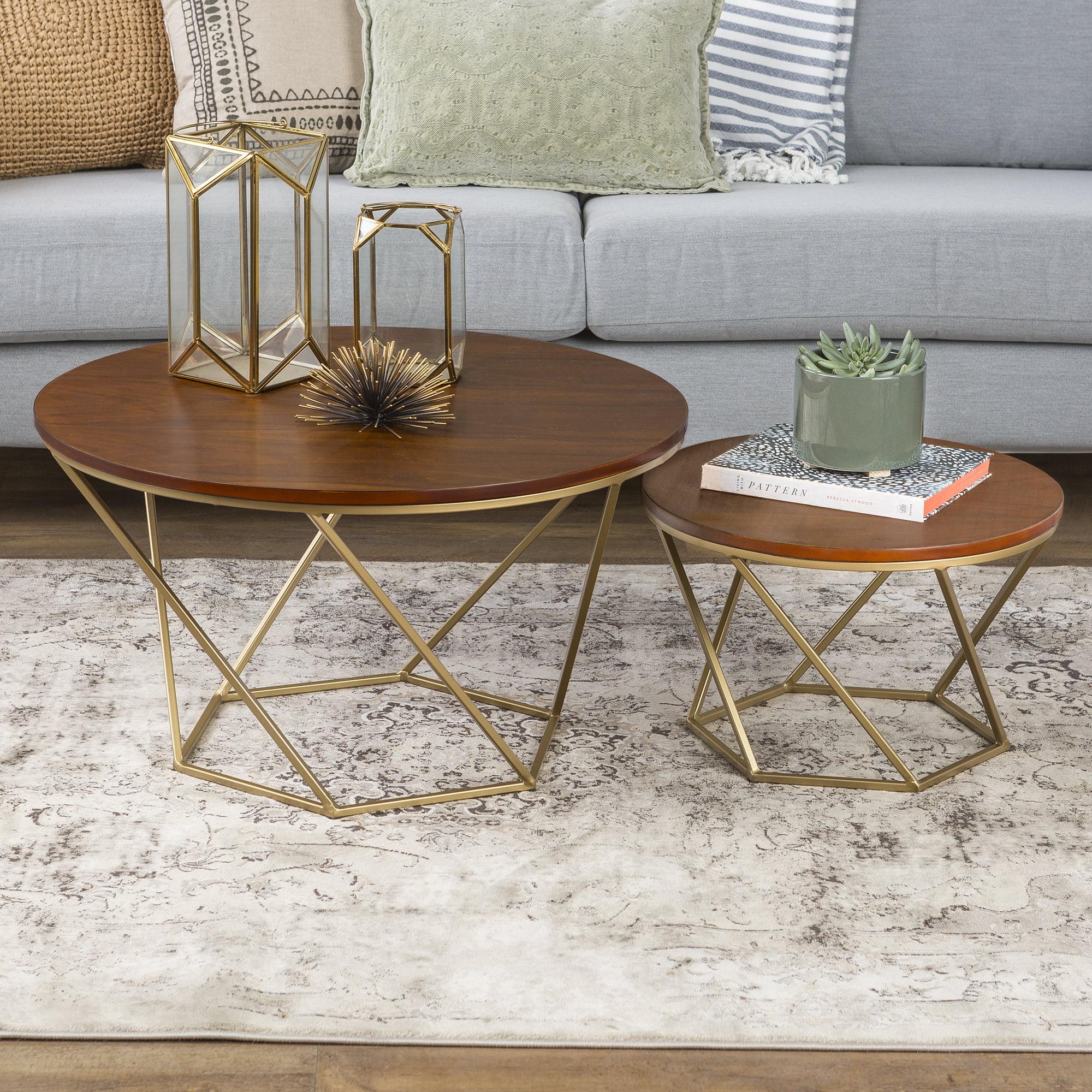 Geometric Wood Nesting Coffee Tables - Walnut/Gold