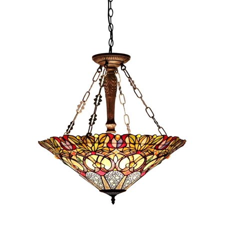 (Chloe Lighting Cassandra Tiffany-Style 3-Light Victorian Inverted Ceiling Pendant Fixture with 22