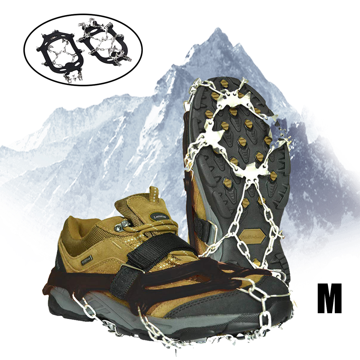 Non-Slip Ice Snow Crampons Boot Shoe Covers Spikes Grips Cleats Hiking Climbing