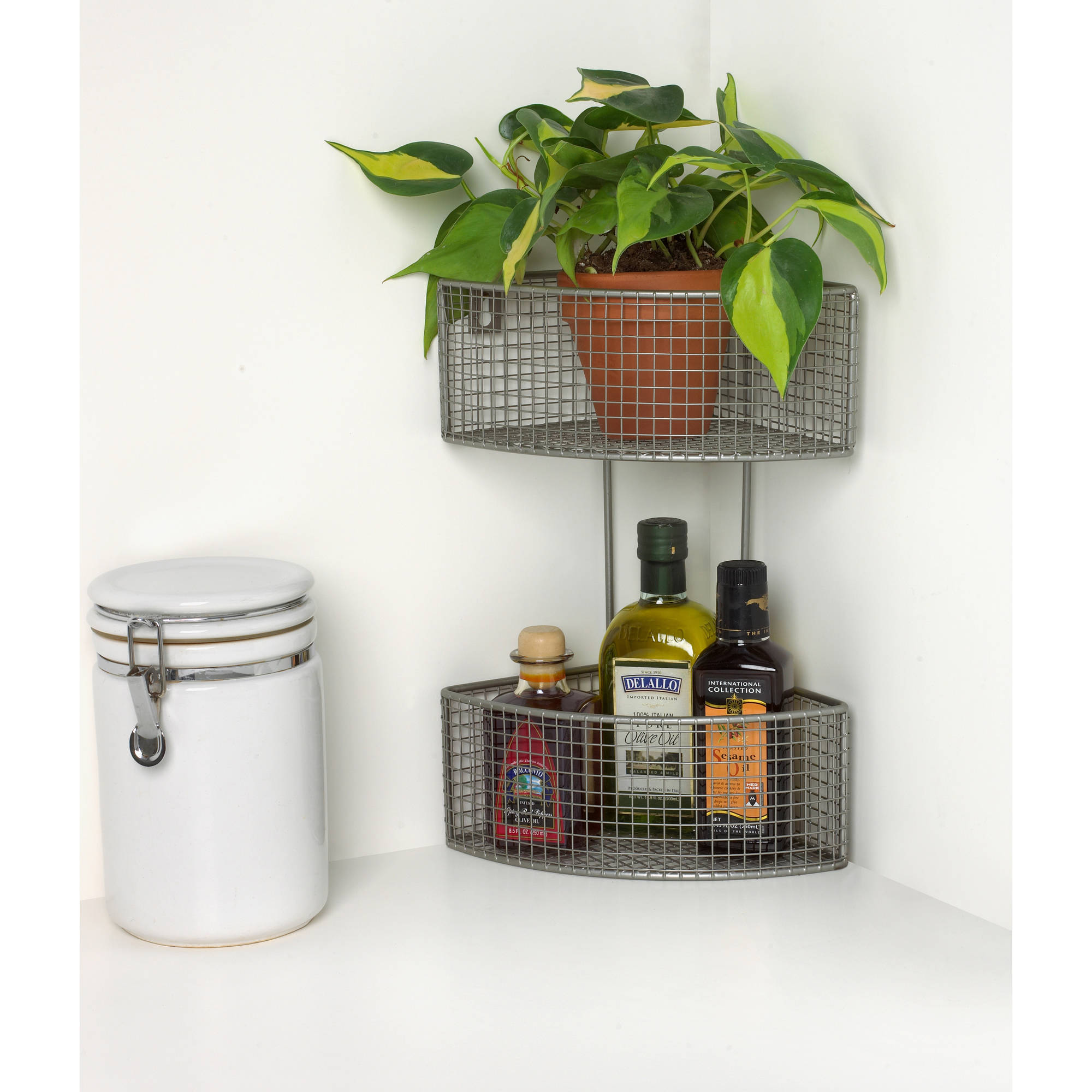 Spectrum 2-Tier Corner Basket with Hardware Included, Satin Nickel PC