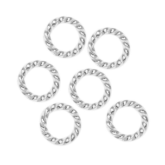 Nunn Design Silver Plated Open Jump Rings Twist 11.5mm 14 Gauge (10)