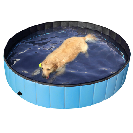 Topeakmart Blue Foldable Pet Pool, Suitable for Large Dogs, Cats or Other Pets to Swim and Bath in Outdoor - L: 63 x 12