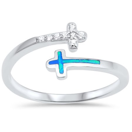 CHOOSE YOUR COLOR Clear CZ Blue Simulated Opal Open Cross Ring New .925 Sterling Silver Band Blue Opal Sterling Ring