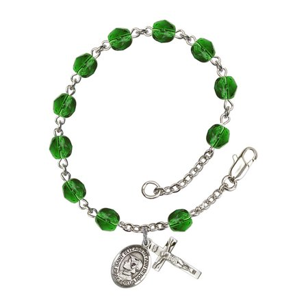 St. Elizabeth Ann Seton Silver Plate Rosary Bracelet 6mm May Green Fire Polished Beads Crucifix Size 5/8 x 1/4 medal charm