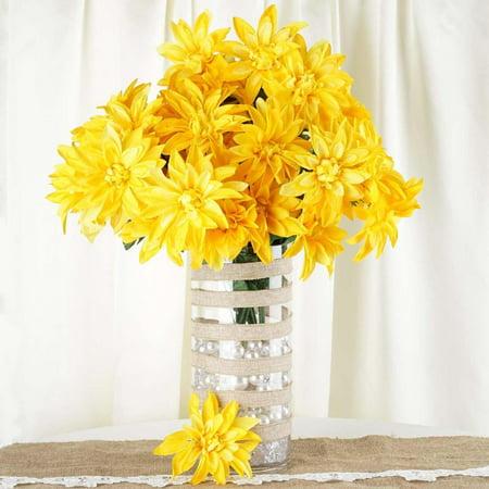 56 Artificial Dahlia Wedding Flower Bushes Vase Centerpiece Decor - Yellow - Art Deco Centerpieces