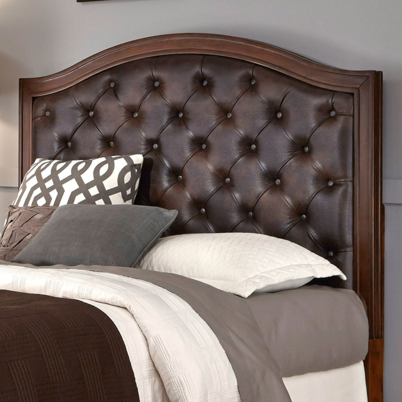 Duet King Tufted Diamond Camelback Bed, Brown Leather