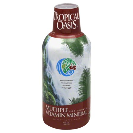 Tropical Oasis Multi Vitamin and Mineral Liquid Supplement - 125 Total Nutrients including; 85 Vitamins & Minerals, 23 Amino Acids, and 18 Herbs - Liquid Vitamin with up to 96% absorption -- 16 fl oz, 32 serving