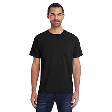 Mens ComfortWash Garment Dyed Short Sleeve Pocket Tee, Black - Medium - image 1 de 1