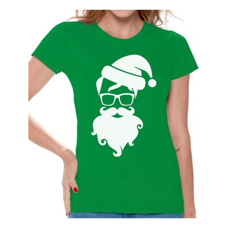 Awkward Styles Hipster Santa Shirt Christmas T Shirts for Women Hipster Santa Claus with Glasses Women's Holiday Top Funny Santa Claus Shirt Xmas Gifts for Her Christmas Holiday Party Hipster Shirt