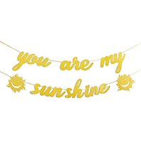 Glitter Gold You are My Sunshine & Sun Sign Banner Birthday Party Baby Shower Gender Reveal Sunshine Theme Party Supplies Engagement Wedding Decorations Cute Photo Props
