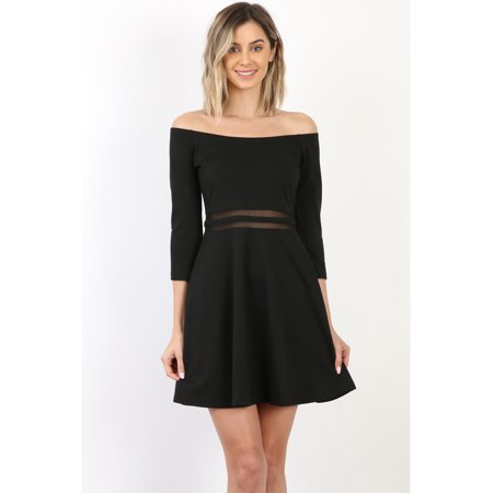 Maryclan Maryclan Womens Mesh Waist Fit And Flared Skater Dress