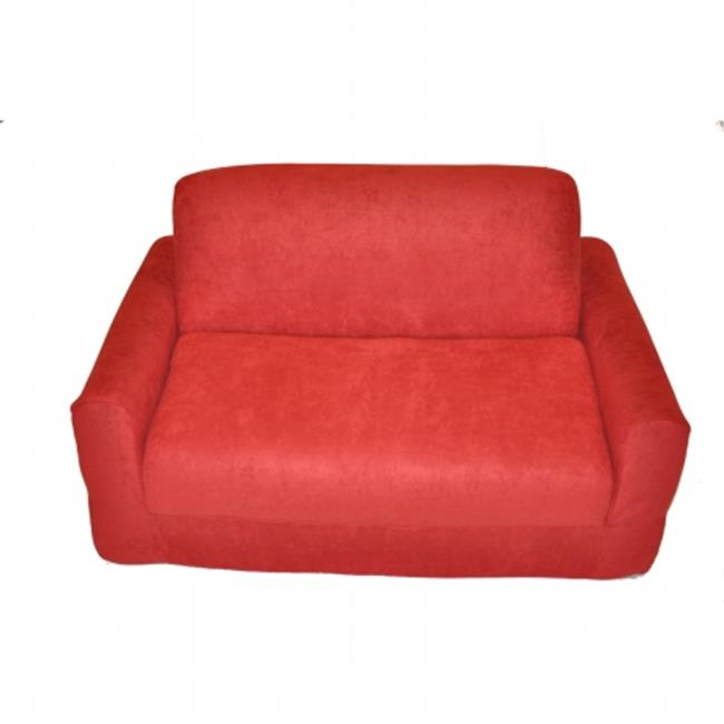 Red Micro Suede Sofa Sleeper By