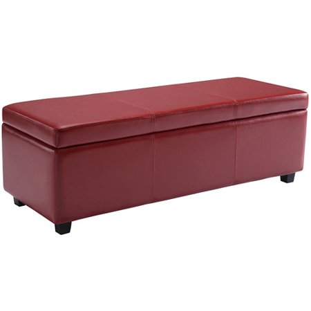 Simpli home avalon large storage ottoman bench walmartcom for Storage ottoman walmart