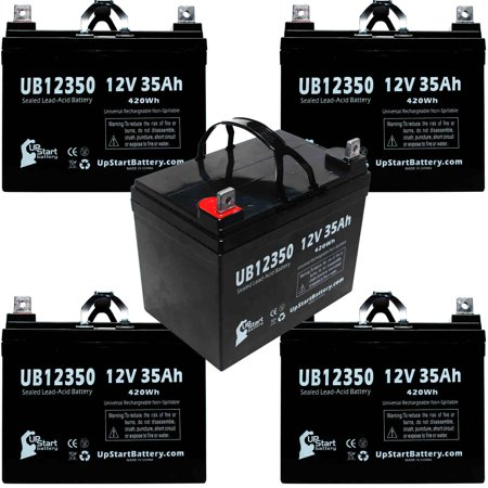 5x Pack - Compatible Ranger All Seasons Solo IV LTD HD Battery - Replacement UB12350 Universal Sealed Lead Acid Battery (12V, 35Ah, 35000mAh, L1 Terminal, AGM, SLA)