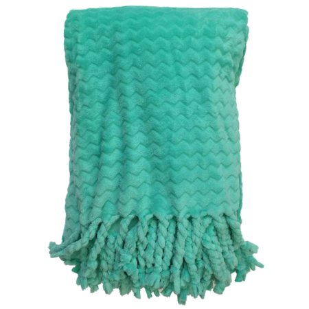 Oversized Plush Turquoise Throw Blanket With Chunky Fringe Ultra Soft
