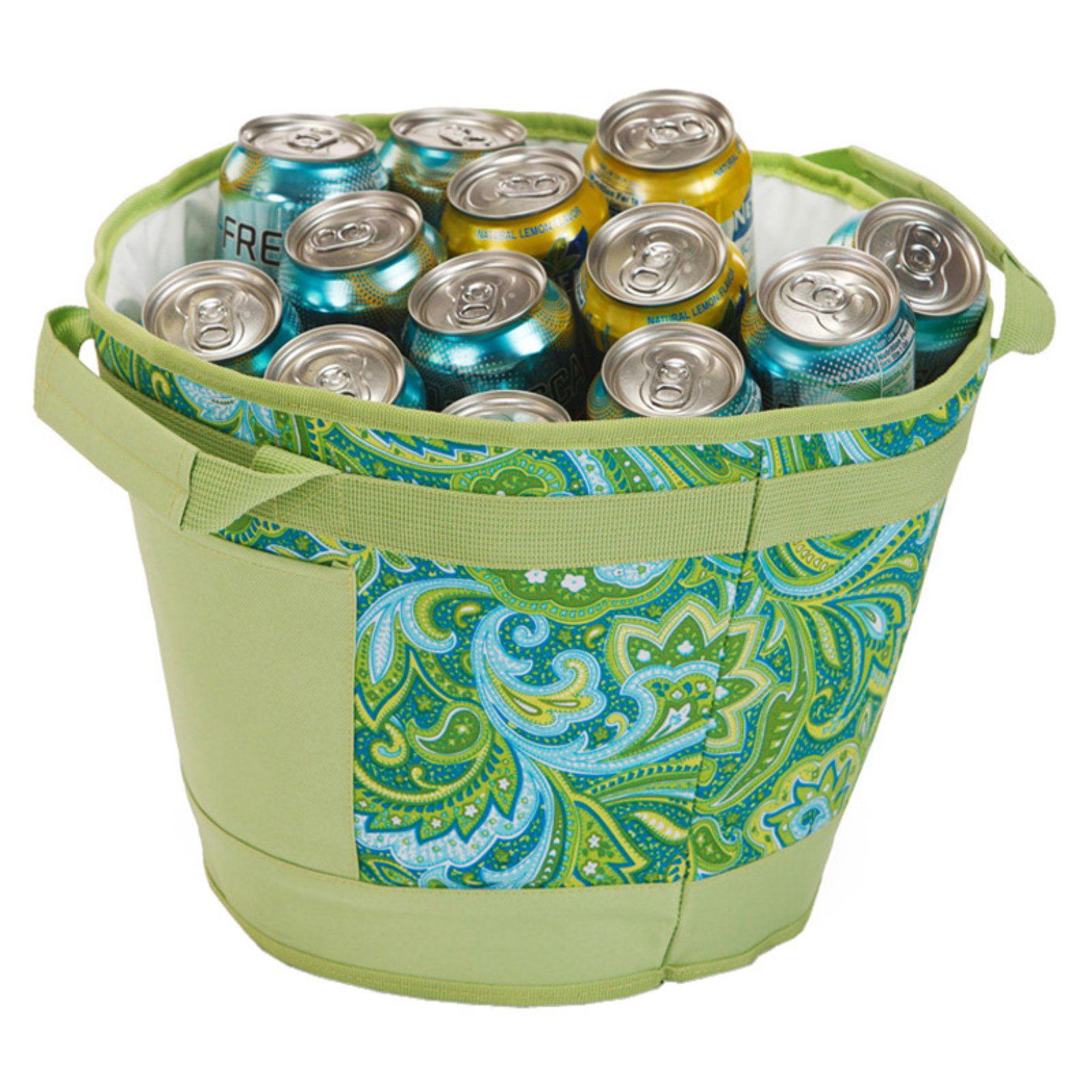 Picnic Plus Austin 18 Can Green Paisley Ice Bucket