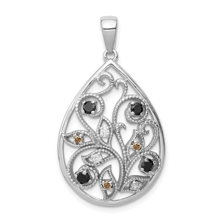 925 Sterling Silver Textured Cubic Zirconia Cz Pendant Charm Necklace Fine Jewelry For Women Gifts For Her - image 6 de 6