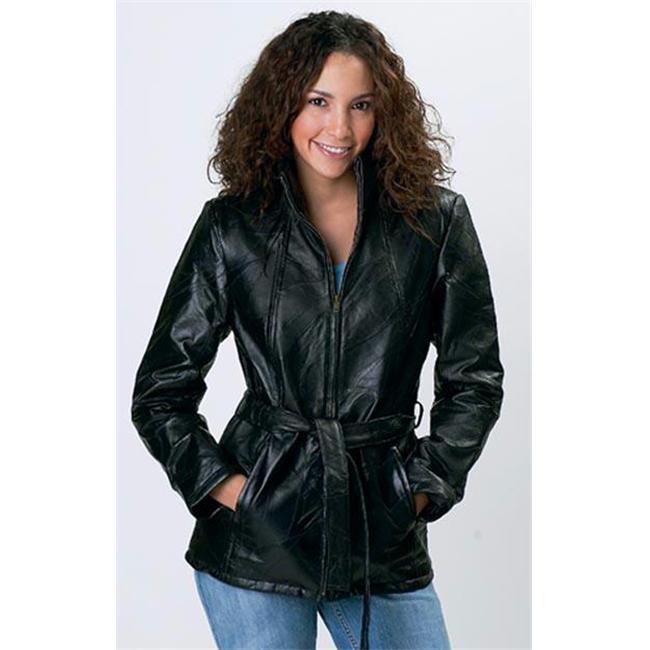 Giovanni Navarre Italian Stone Design Genuine Leather Ladies Jacket GFLZPBXL