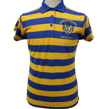 Ladies Home Rugby Shirt (Buffalo Dallas Sigma Gamma Rho Rugby Style Striped Polo Womens Tee [Short Sleeve - Blue/Gold - M] )