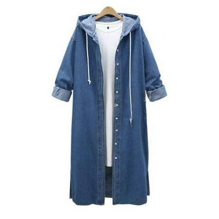 JDinms Women Hooded Casual Long Sleeve Denim Jacket Long Jean Coat Outwear