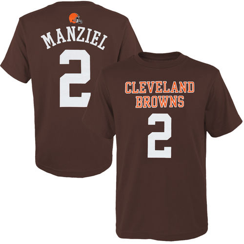 Youth Johnny Manziel Brown Cleveland Browns Historic Logo Primary Gear Player Name & Number T-Shirt