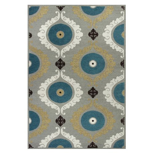 KAS Rugs Mulberry 3400 Suzani Area Rug - Silver / Teal