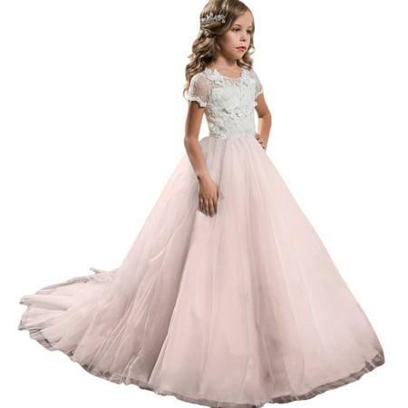 Kid Floral Print Dress Girl Princess Costume Party Tutu Lace Dresse (Princess And Prince Couple Costumes)