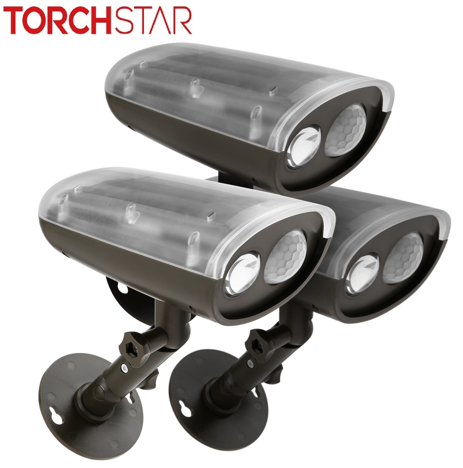 TORCHSTAR 3 Pack LED Solar Powered Outdoor Security Light with Motion Sensor, Waterproof Wireless Solar Wall Lights