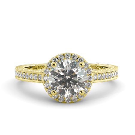 2.75 ct Round Cut One Moissanite & Vintage Halo Engagement Ring 18k Yellow Gold Moissanite Vintage Ring