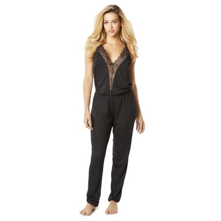 598c15e7ace Jersey Jumpsuit Jumper with Plunging Lace Neckline and Back Keyhole  Loungewear