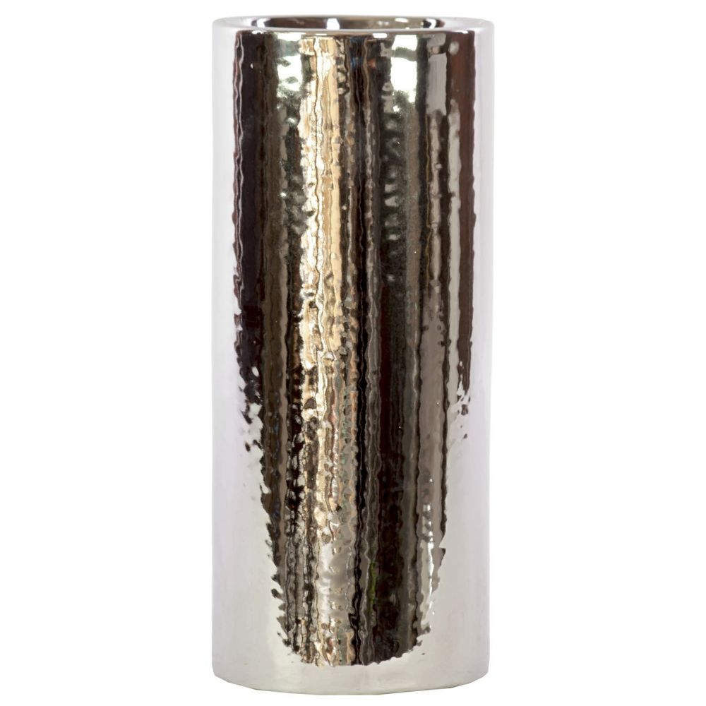 Ceramic Cylindrical Vase Large Chrome Silver
