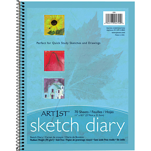"Pacon Art1st Sketch Diary, 8-1/2"" X 11"", 60 lb, 70 Sheets, White"