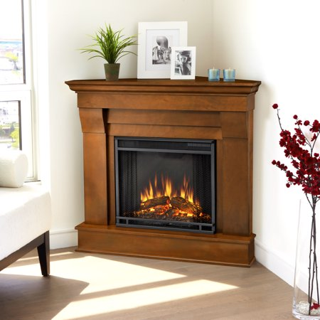 Chateau Corner Electric Fireplace in Espresso by Real Flame Corner Indoor Fireplace