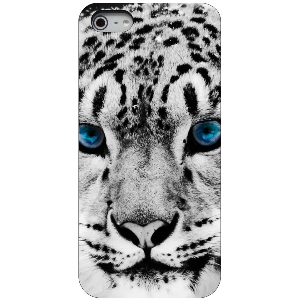 CUSTOM Black Hard Plastic Snap-On Case for Apple iPhone 5 / 5S / SE - Snow Leopard Blue Eyes