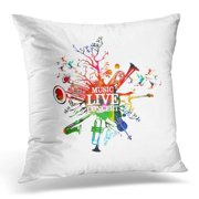 USART Live Music Concert Colorful with Instruments Words with Saxophone Trumpet Violoncello Guitar Euphonium Pillow Case Pillow Cover 20x20 inch